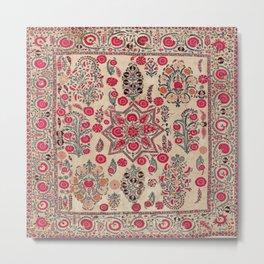 Ura Tube  Antique Tajik Suzani Embroidery Print Metal Print