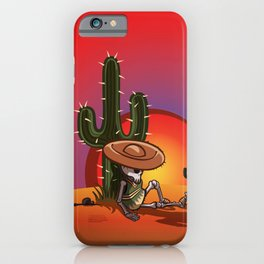 Cactus and skeleton in Sunset iPhone Case