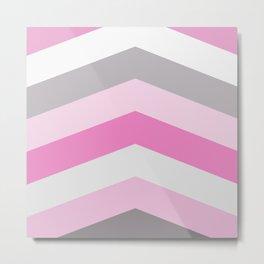 Pink and gray chevron Metal Print