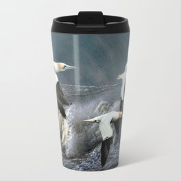 Gannets Skimming The Waves Travel Mug