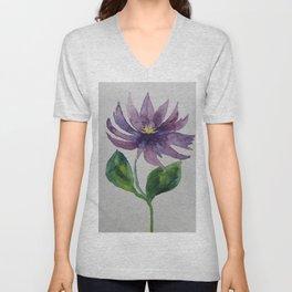 Violet Clematis Unisex V-Neck