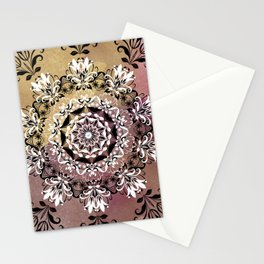 ELEGANT BLACK AND WHITE WATERCOLOR MANDALA Stationery Cards