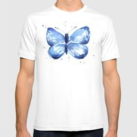 Butterfly Watercolor Blue Butterflies White MEDIUM Mens Fitted Tee