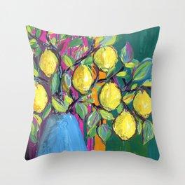lemons in blue vase: stillife Throw Pillow