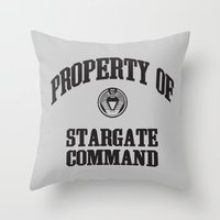 stargate Throw Pillows featuring Property of Stargate Command Athletic Wear Black ink by RockatemanDesigns