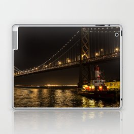 Bay Bridge Fire Boat at Night Laptop & iPad Skin