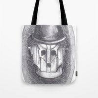chaplin Tote Bags featuring cyber chaplin by ronnie mcneil