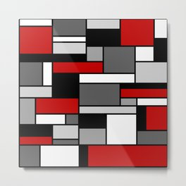 Mid Century Modern Color Blocks in Red, Gray, Black and White Metal Print