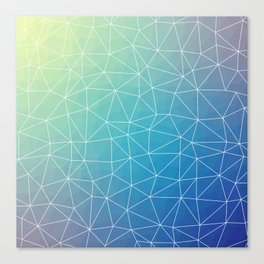Abstract Blue Geometric Triangulated Design Canvas Print