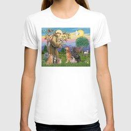 Saint Francis Blesses Dogs & Cats T-shirt