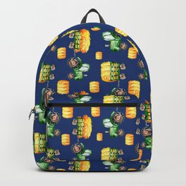Watercolor Tractors Farm Life Pattern Blue Backpack