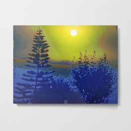 Surreal Sky Norfolk Pine and Trees Metal Print