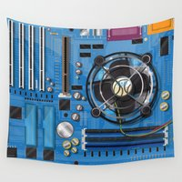 computer Wall Tapestries featuring Computer Motherboard by Nick's Emporium