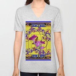 Decorative Blue Yellow Pink Purple Vining Flowers Art Unisex V-Neck