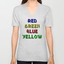 Red Green Blue Yellow Brain Teaser Unisex V-Neck