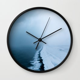 Infinite and minimal black sand beach in Iceland - Landscape Photography Wall Clock