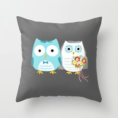 Owls Wedding Day | Bride and Groom Throw Pillow