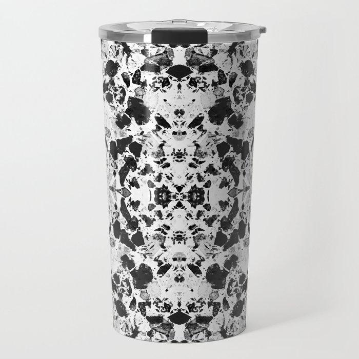 Beautiful Black and White Terrazzo Tile Travel Mug by dominiquevari