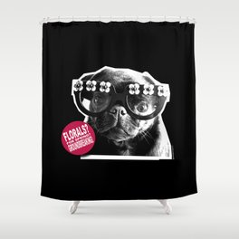 FLORALS FOR SPRING...GROUNDBREAKING - BLACK AND PINK. Shower Curtain