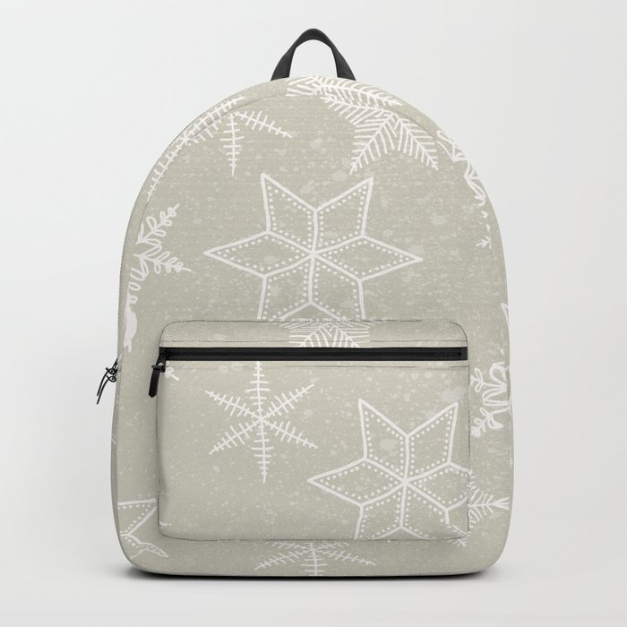 Snowflakes on beige background Backpack