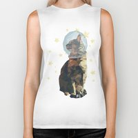 space cat Biker Tanks featuring Space Cat. by Dani Does Art