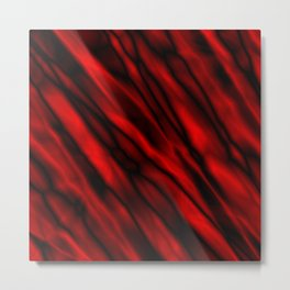 A bright cluster of red bodies on a dark background. Metal Print