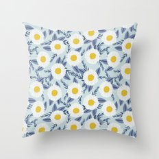 daisy flower white blue navy gold watercolor painting bohemian gardener gift unique floral pattern Throw Pillow