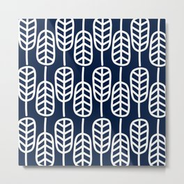Feather Leaves Minimalist Pattern in White and Nautical Navy Blue Metal Print