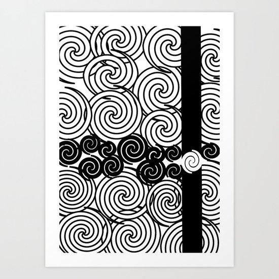 Black and white spirals design Art Print
