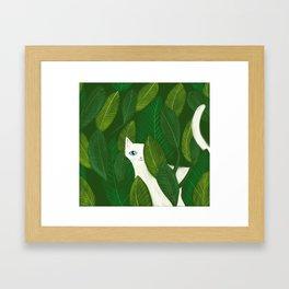 Jungle Cat white cat in leaves artwork by Tascha Framed Art Print