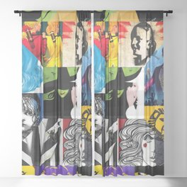 Musicals Collage Sheer Curtain