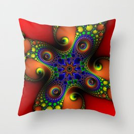 Spirals Of Chaos Psychedelic Fractal Art Throw Pillow