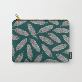 Feathers Pattern green Carry-All Pouch