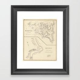 Vintage Map of Hampton Beach NH (1892) Framed Art Print