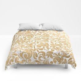 Gold foil swirls damask #13 Comforters