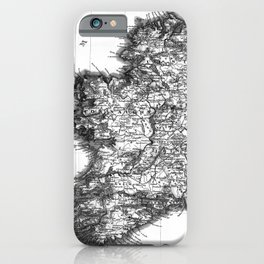 Vintage Black and White Ireland MAp iPhone Case