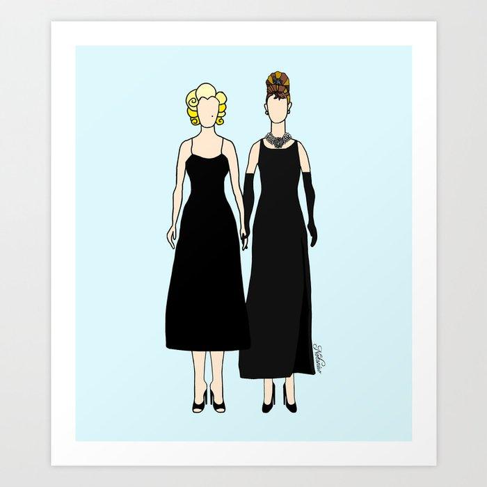 Little Black Dress of Audrey Marilyn Art Print