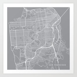 San Francisco Map, California USA - Pewter Art Print