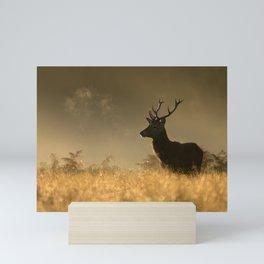 Red deer in the mist Mini Art Print