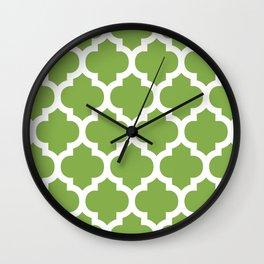 Moroccan Pattern Green Grass Grove Wall Clock
