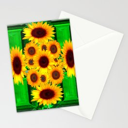 SPRING GREEN EMERALDS & YELLOW FLOWERS  ART Stationery Cards