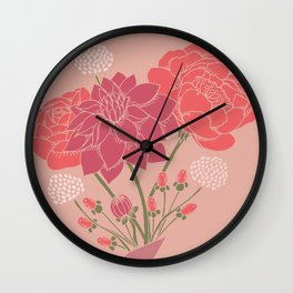 Pink Floral Bouquet in a Vase Wall Clock