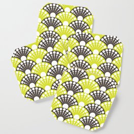 brown and lime art deco inspired fan pattern Coaster