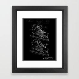 Hockey Skate Patent - Black Framed Art Print