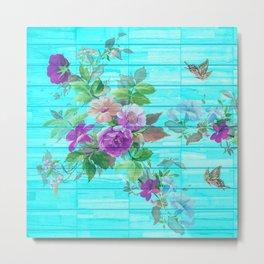 Vintage Floral with Butterflies Metal Print
