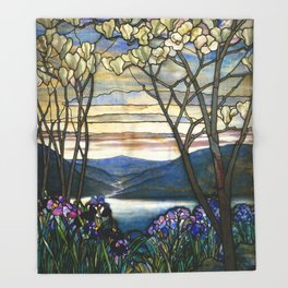 Louis Comfort Tiffany - Decorative stained glass 5. Throw Blanket
