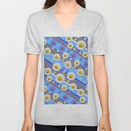 DECORATIVE DIAGONAL PATTERN BLUE MODERN ART WHITE SHASTA DAISIES Unisex V-Neck