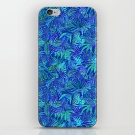 Palm watercolor tropical blue night iPhone Skin