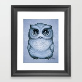"""The Little Owl"" by Amber Marine ~ (Blueberry Version) Graphite & Ink Illustration, (Copyright 2016) Framed Art Print"