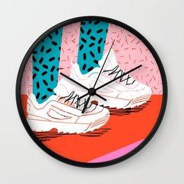 Double Up - retro sneakers, 80s, memphis, shoes, sneaker art print, disruptor sneakers Wall Clock